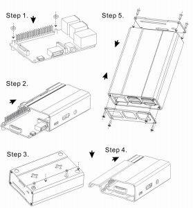 схема сборки корпуса из алюминия для raspberry pi 3