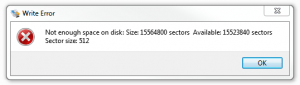 """""""Not enough space on disk"""" Win32 Disk Imager ошибка"""