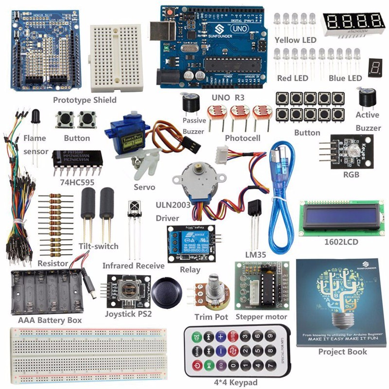 Комплект поставки базового комплекта для Arduino UNO