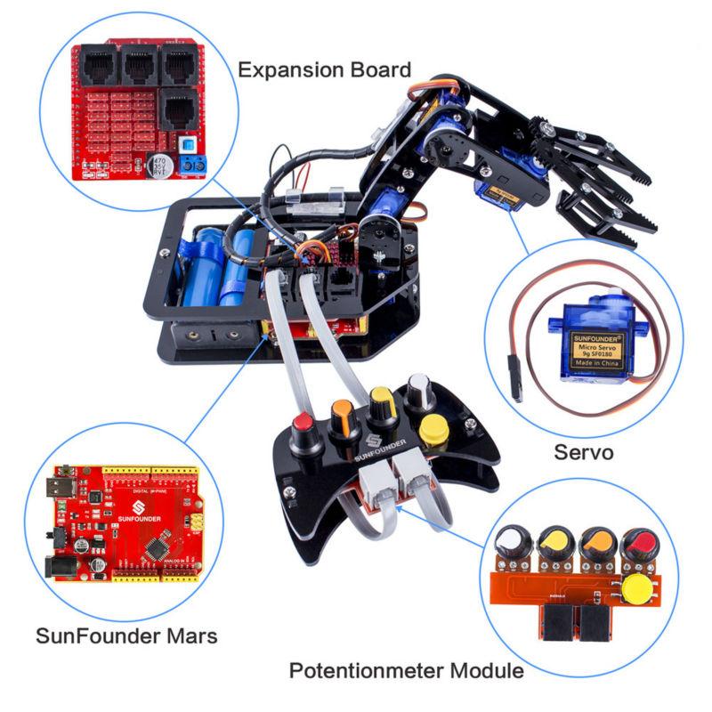 Технические детали робота манипулятора с проводным пультом управления