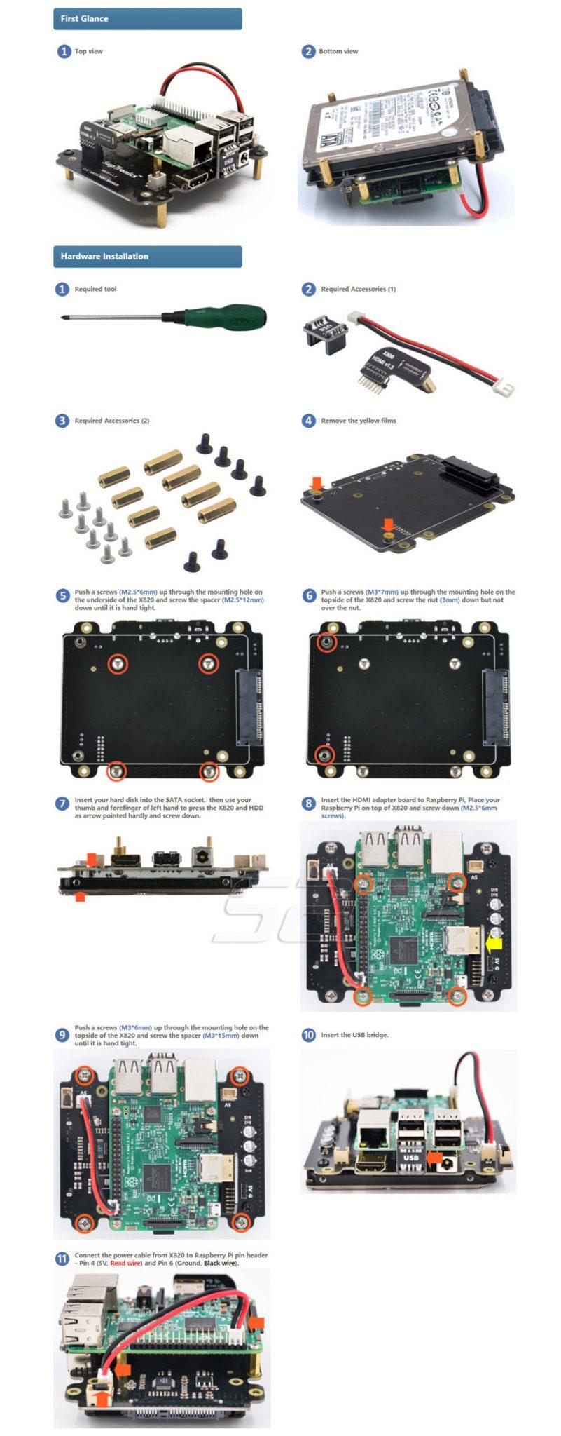 Плата расширения x820 для Raspberry Pi для подключения 2.5 дюймов SATA HDD/SSD