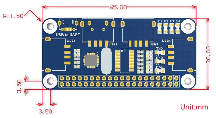 РазмерыUSB HUB для Raspberry Pi zero/zero w/b +/2b/3B