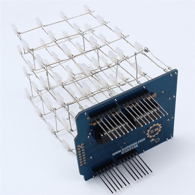 Комплект для сборки светового куба 4x4x4 синий на ардуино