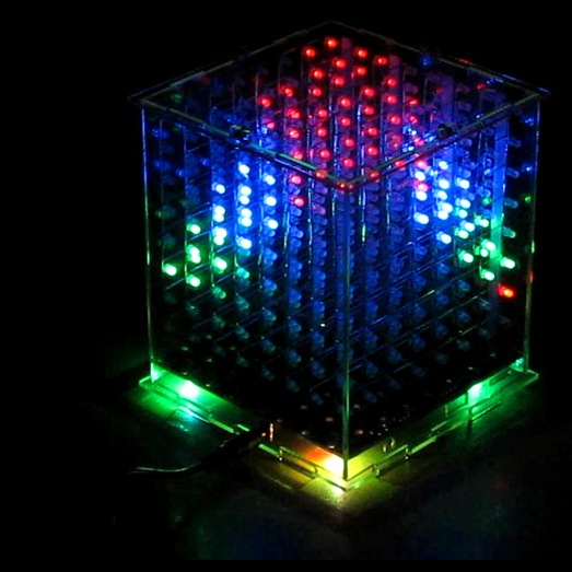 Световой многоцветный куб 8x8x8 с управлением
