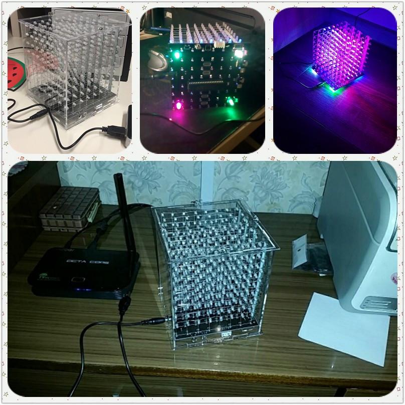 Фото собранныхсветовых многоцветных кубов 8x8x8 с управлением