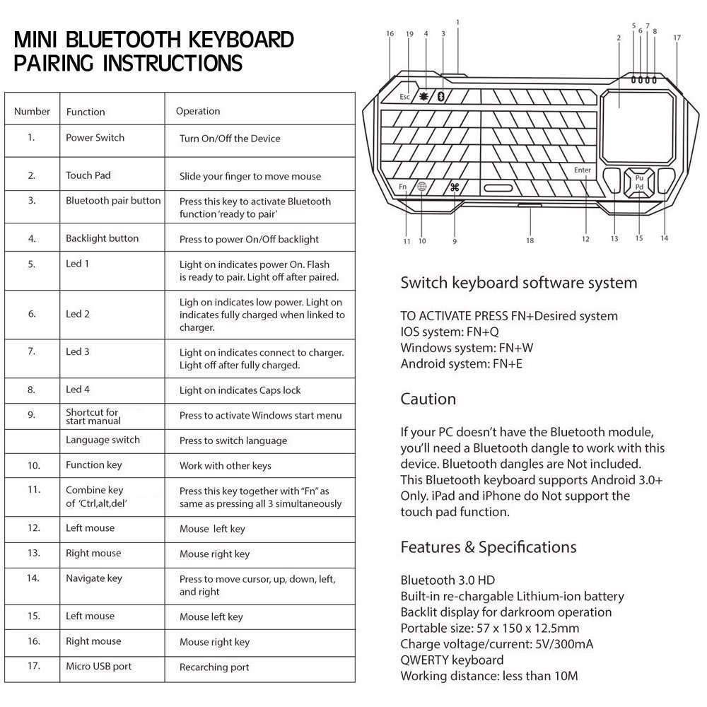 ИнструкцияBluetooth клавиатуры с тачпадом