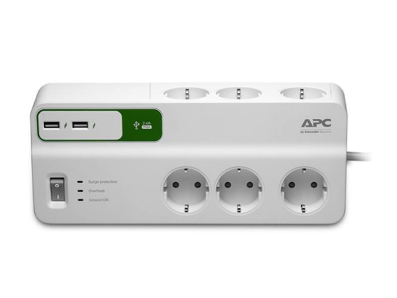 Cетевой фильтр APC SurgeArrest PM6U-RS с 2 USB зарядки
