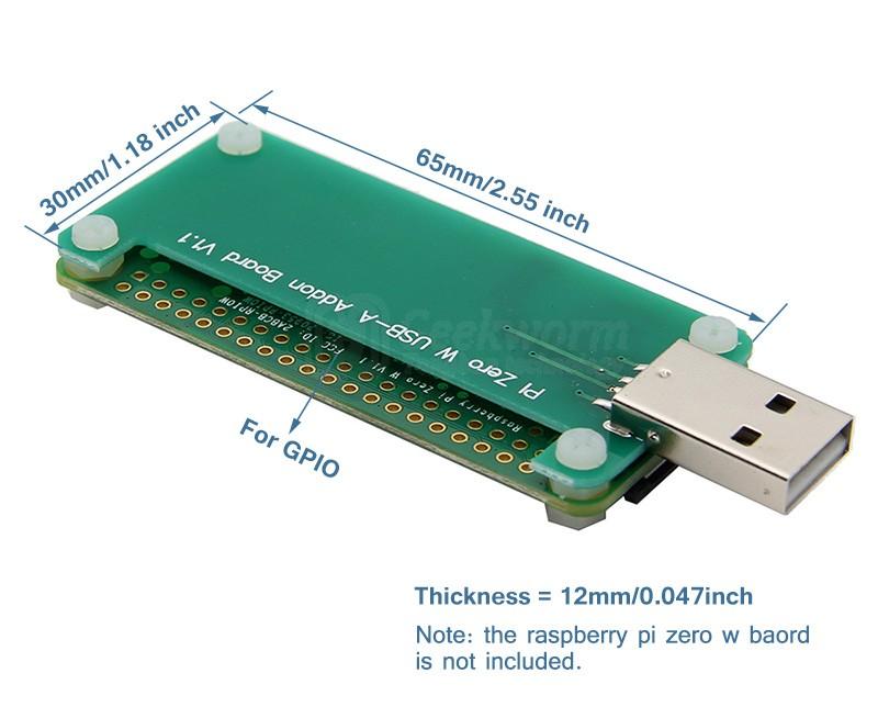 Размерыплаты расширения Zero с USB разъемом