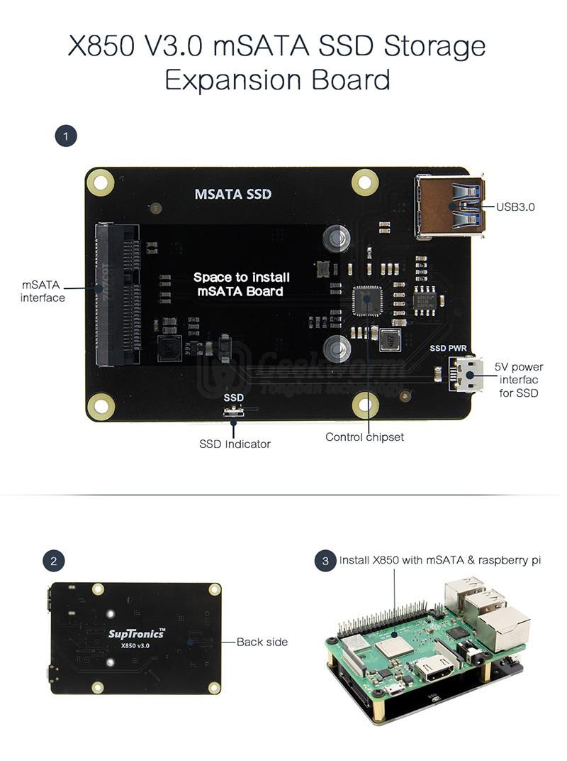 Плата расширения X850 V3.0 mSATA SSD для Raspberry Pi