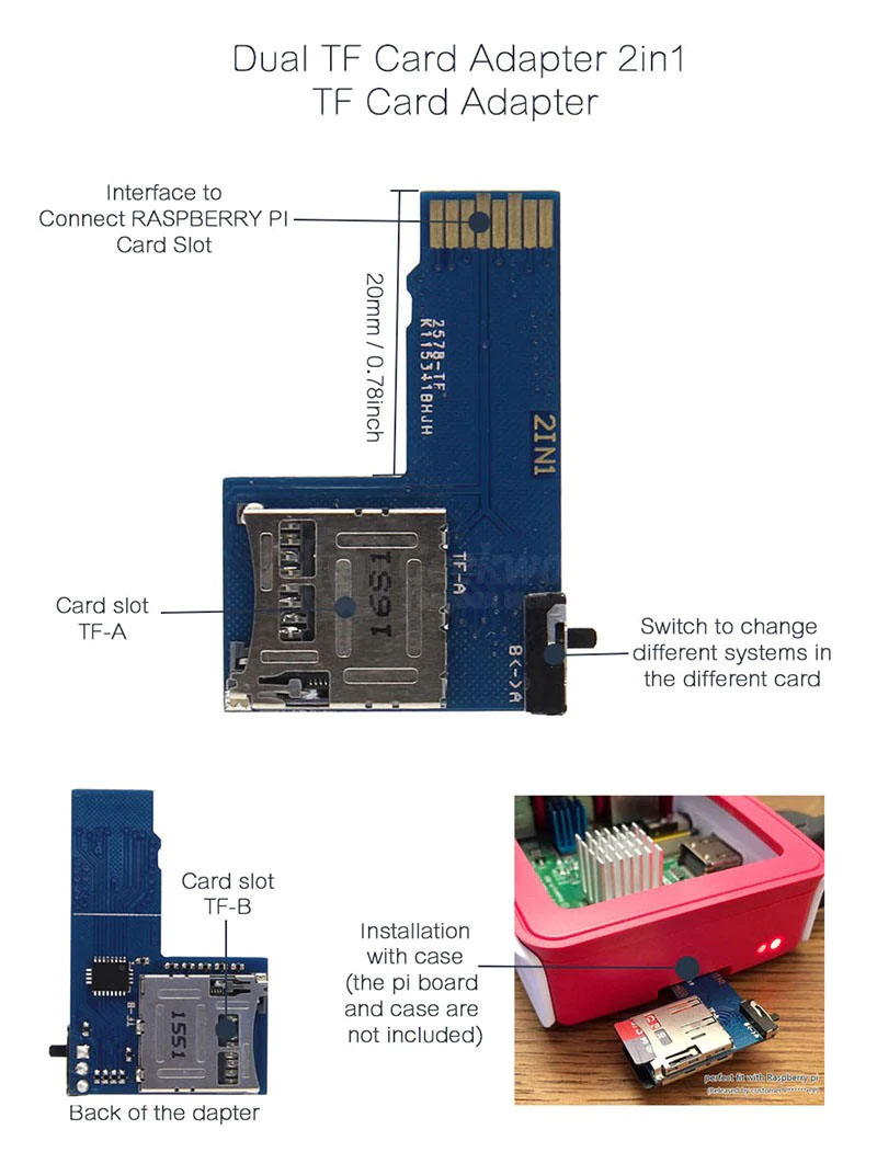Особенности адаптера карт памяти TF Micro SD 2 в 1 для Raspberry Pi