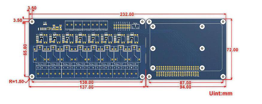 Размеры платы расширения 8 канальный реле для Raspberry PI