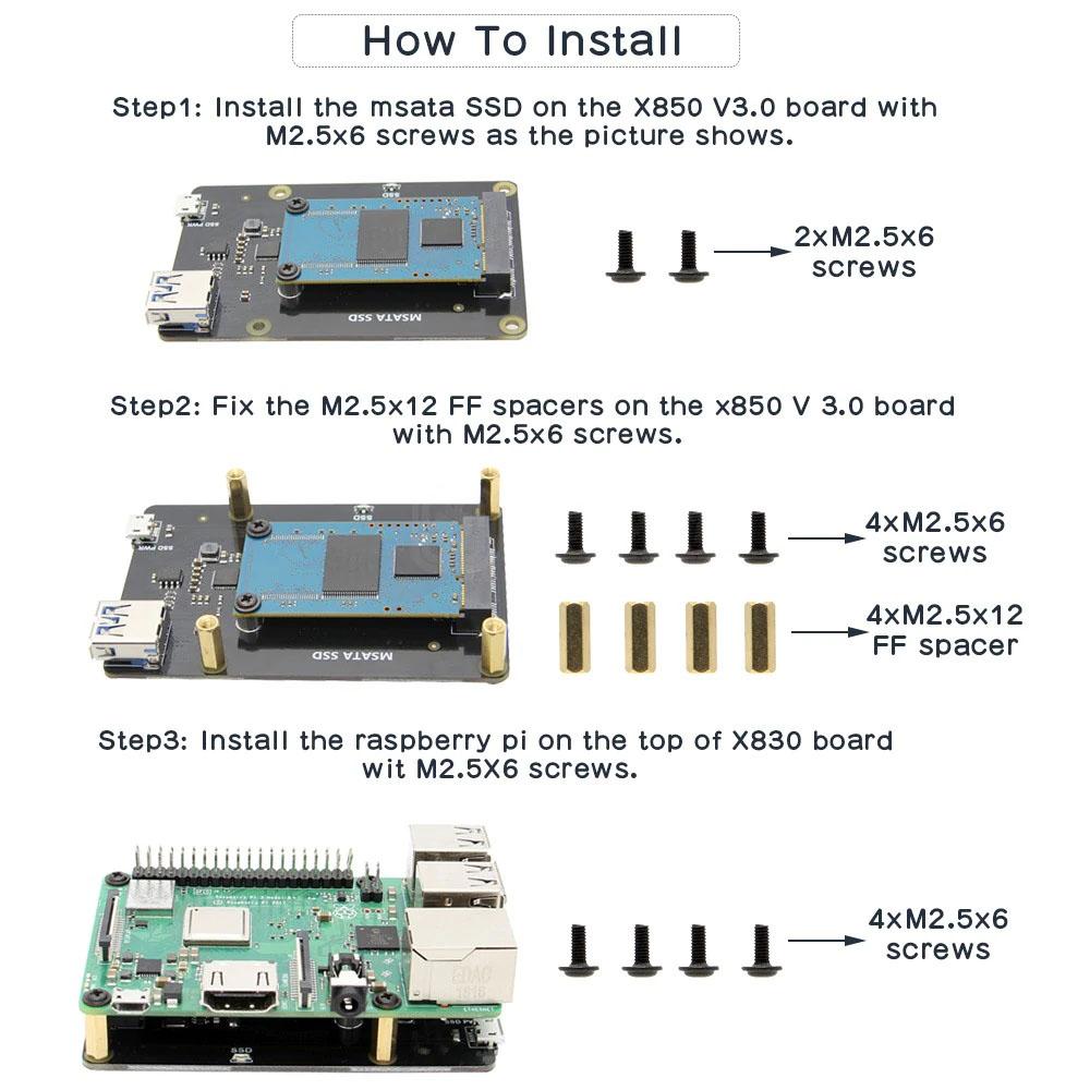 Сборка и установкаX850 V3.0 платы расширения mSATA SSD