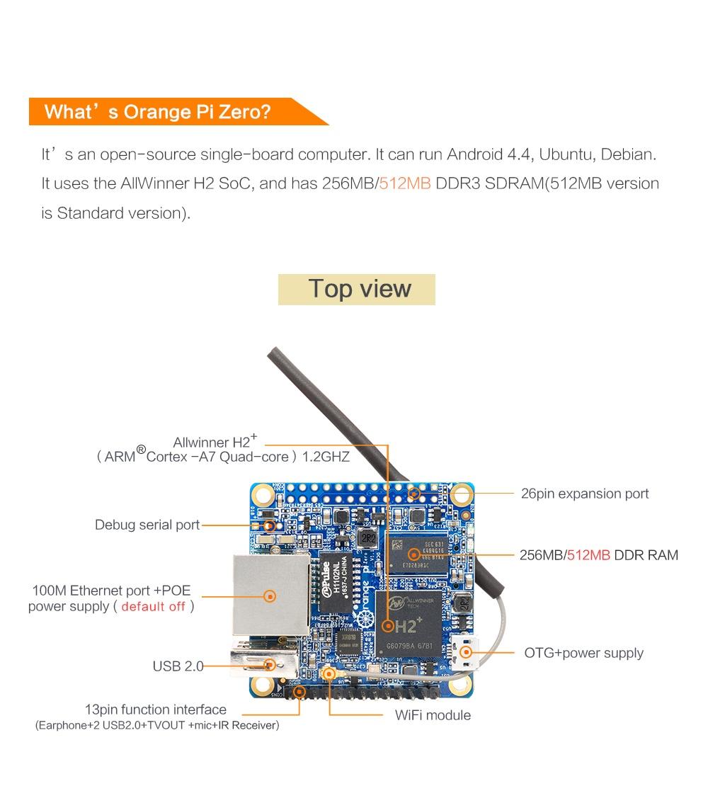 Спецификация Orange pi Zero