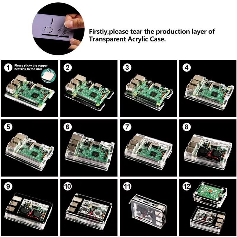 Сборка акрилового корпуса с двумя кулерами и радиатором для raspberry pi