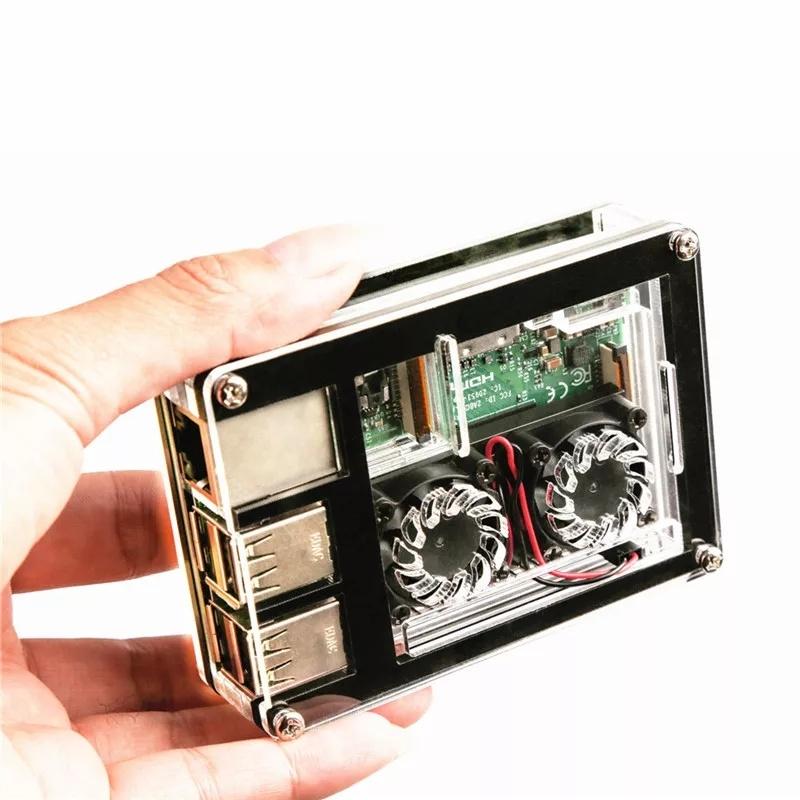Комплект поставкиакрилового корпуса с двумя кулерами и радиатором для raspberry pi