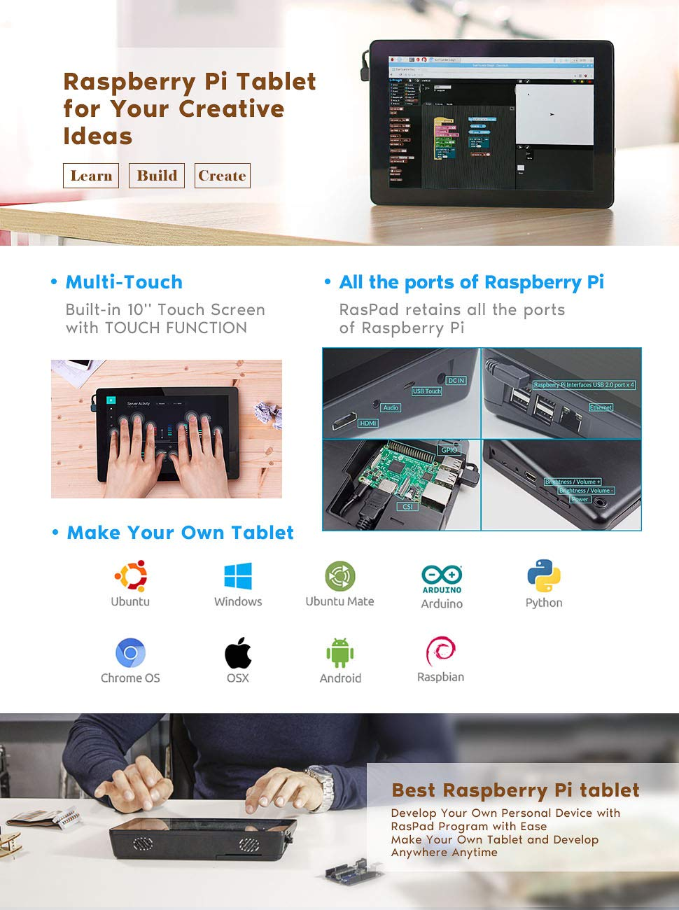 ОсобенностиRaspad 10 дюймовый планшет с Raspberry Pi