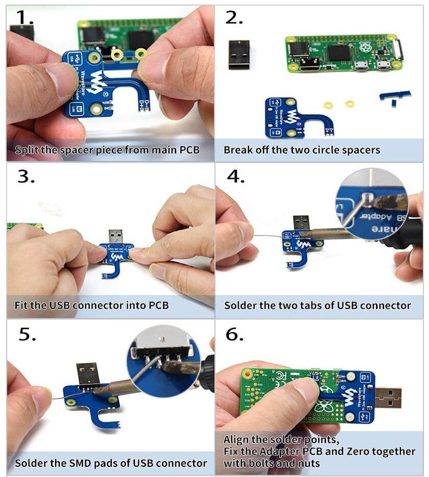 Инструкция по сборкеUSB адаптер разъем для Raspberry Pi Zero/Zero W/Zero WH часть 1