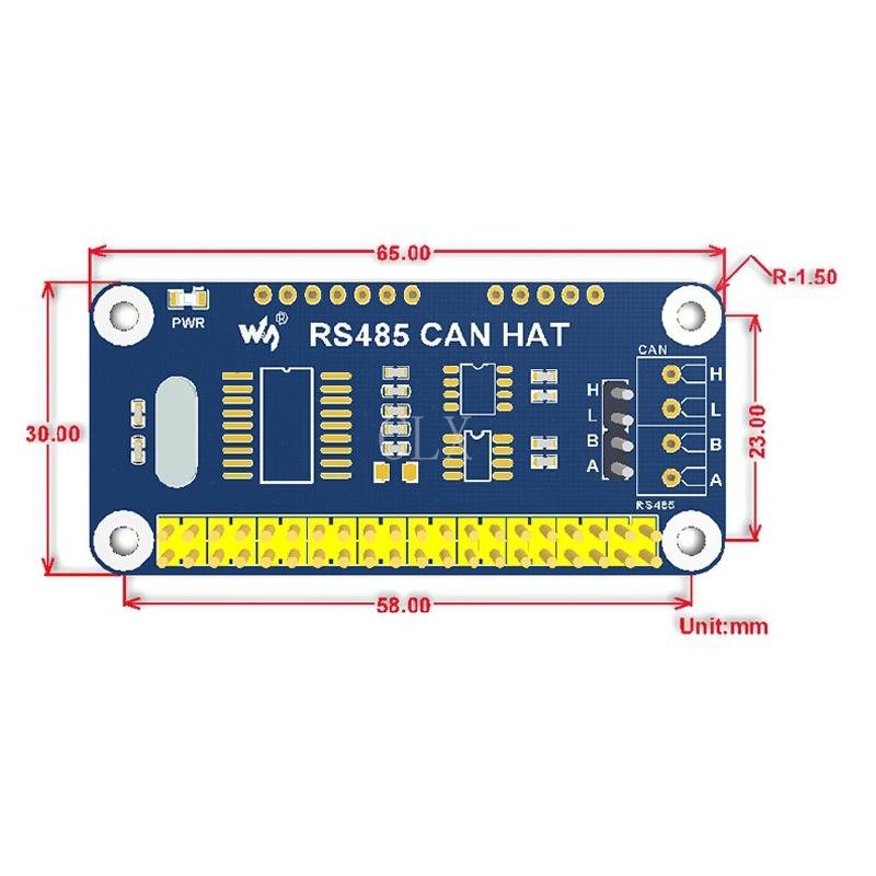 Размеры RS485 платы расширения для Raspberry Pi Zero/Zero W/Zero WH/2B/3B/3B +
