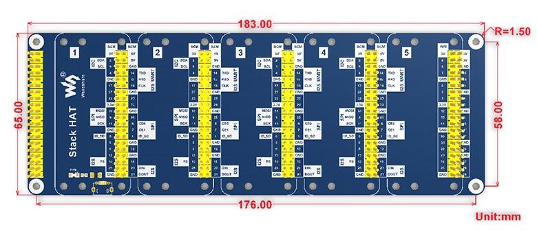 Технические характеристикиStack HAT плата расширения для Raspberry Pi