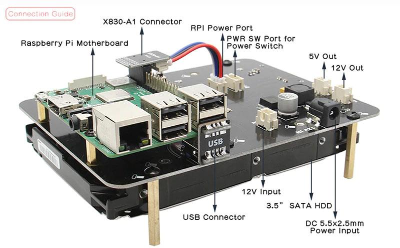X830 v3 плата расширения 3.5 HDD SATA для raspberry pi