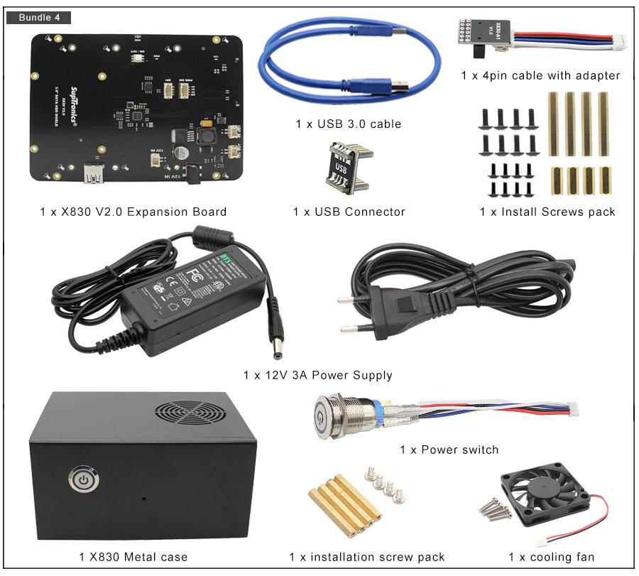 Комплект 4 X830 плата расширения 3.5 HDD SATA для raspberry pi