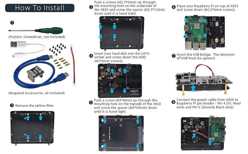 Как установить (собрать)X830 плату расширения 3.5 HDD SATA с raspberry pi