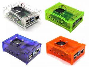 Акриловый корпус с вентилятором и комплектом радиаторов для Raspberry Pi 4 Модель B