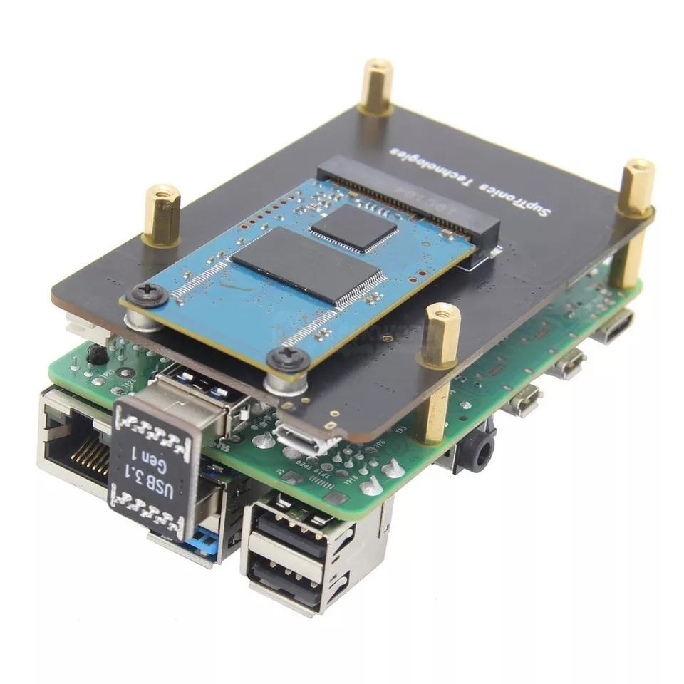 Комплект поставки платы расширения X855 V1.3 mSATA SSD для Raspberry Pi 4B