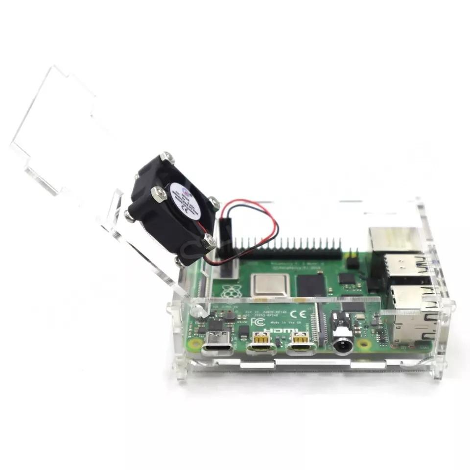 Купить акриловый корпус с вентилятором и комплектом радиаторов для Raspberry Pi 4 Модель B