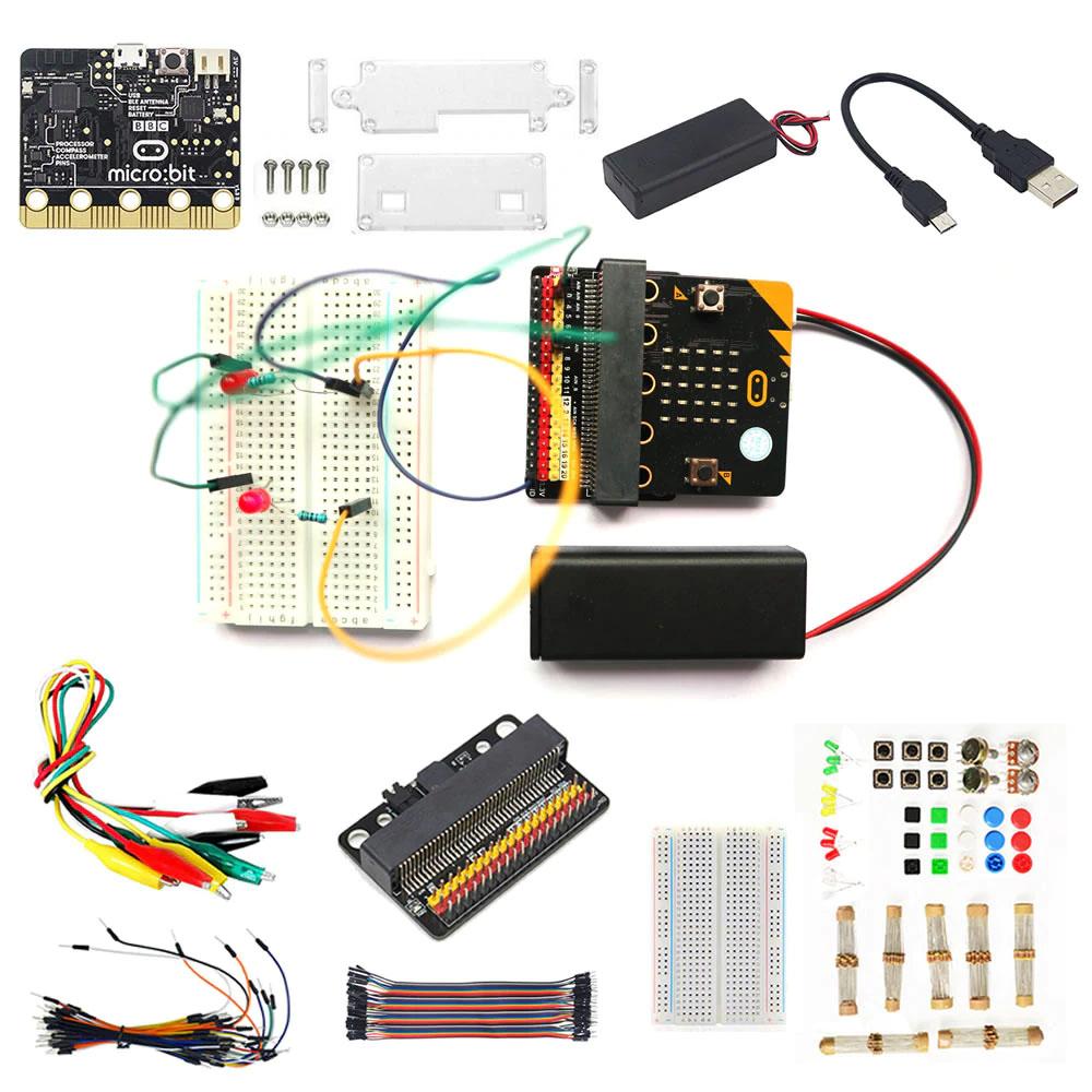 BBC Micro: бит BBC Micro: bit-это микроконтроллер на базе ARM с встроенным Bluetooth, акселерометром, электронным компасом, тремя кнопками, 5x5 СВЕТОДИОДНЫЙ матричный, в основном используется для программирования образования для подростков. Вы можете использовать BBC Micro: bit для осуществления любой крутой штуковины, такой как робот или инструмент. 25 индивидуально программируемых светодиодов 2 программируемые кнопки Физической соединительные разъемы Светильник и датчики температуры Датчики движения (акселерометр и компас) Беспроводная связь, через радио и Bluetooth USB интерфейс Акриловый чехол для BBC Micro: bit Оставьте Весь интерфейс для доступа к основной плате. Этот чехол довольно прост в установке. Цвет: Прозрачный Материал: акриловое волокно Для того, чтобы акриловая доска не поцарапалась, мы приклеиваем на нее слой защитной пленки (без клейкого знака), пожалуйста, разорвите ее осторожно, прежде чем чехол. 2 шт. AAA Чехол-держатель для батареи (батарея в комплект не входит) для BBC Micro: bit Длина кабеля: около 14 см Для типа батареи: 2 батарейки AAA Интерфейс: интерфейс PH2.0 2 Pin Usb-кабель для BBC Micro: bit Можно использовать для передачи данных и использования в качестве кабеля питания Длина: около 25 см Плата расширения GPIO Плата расширения для BBC Micro: bit 1. Мощность индикатор Мощность ed на карте Micro: бит, индикатор светильник будет гореть красным, без Мощность он не будет светильник или похода по магазинам. 2. P0 buzzer jump cap Колпачок перемычки подключен по умолчанию. В MakeCode вы можете использовать музыкальную колонку для программирования и звука. Обычно при включении звука нет. 3.3Pin IO портативный привод Все контакты в Micro: bit были сняты без каких-либо условий (PS: Нет P17 и P18 на Micro: bit) 4,40 P микро: бит Горизонтальное гнездо Компактный Размер сокета 5. Монтажные отверстия и крепежные отверстия Два внешних отверстия диаметром около 4,8 мм совместимы с Lego фрикционные штифты с интервалом 48 мм. Внутренние два отверстия и