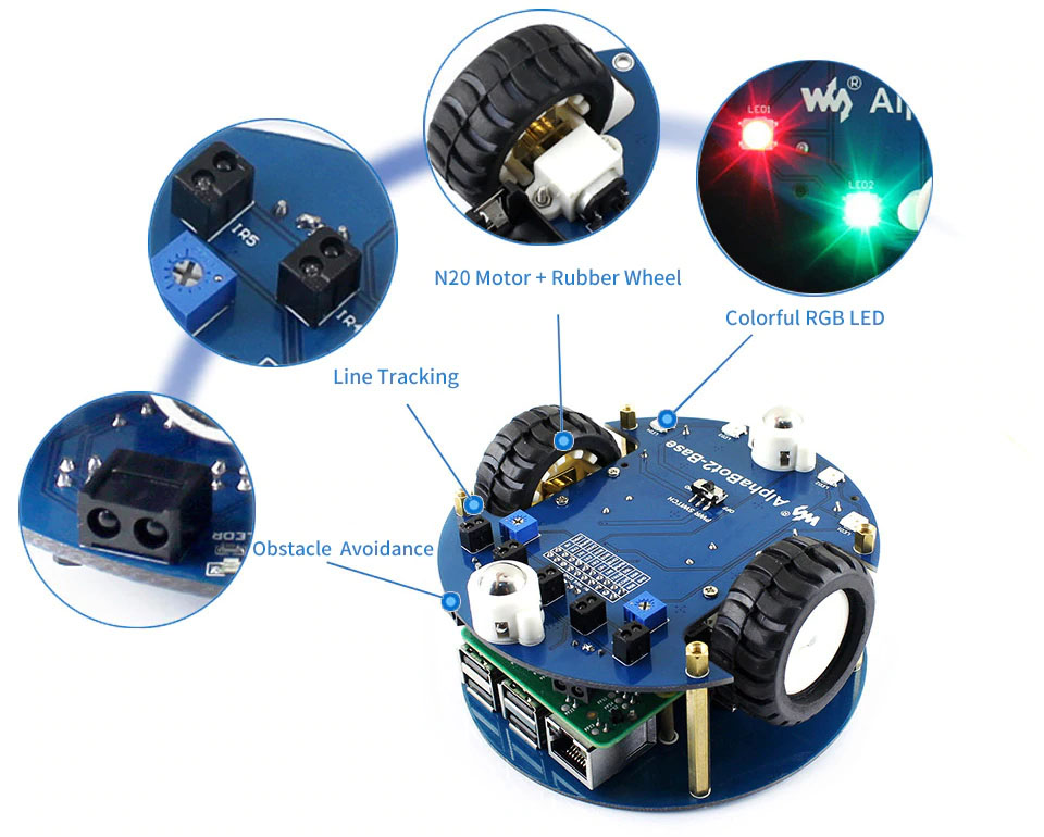 Высоко интегрированная плата адаптера AlphaBot2-Pi