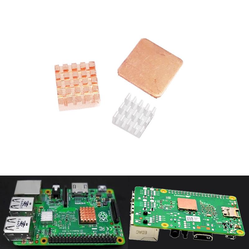 Комплект из 3 шт. медных алюминиевых радиаторов с термопрокладкой для Raspberry Pi 3 Model B/B + B Plus