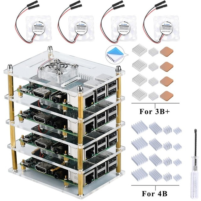 Купить прозрачный акриловый корпус с вентиляторами охлаждения для Raspberry Pi