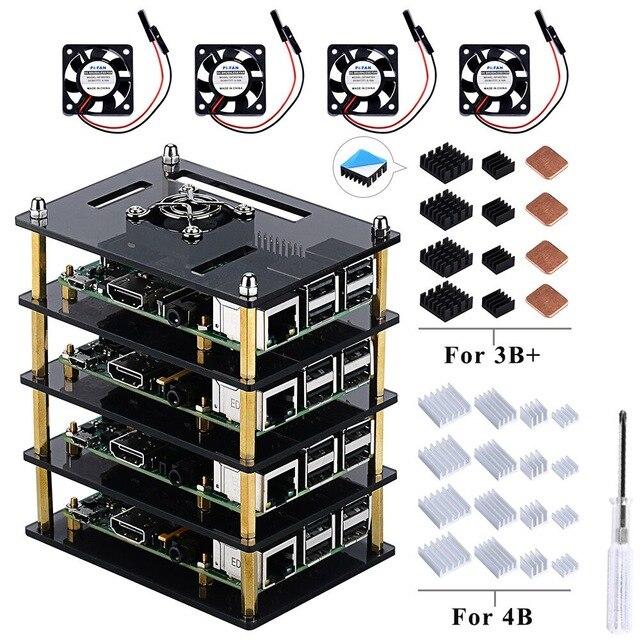 Комплект поставки прозрачного акрилового корпуса с вентиляторами охлаждения для Raspberry Pi