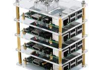 Прозрачный акриловый корпус с вентиляторами охлаждения для четырех Raspberry Pi