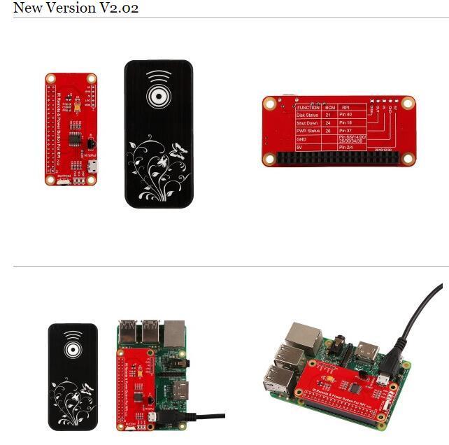 ИзмененияИК пульта дистанционного управления питанием Raspberry Pi V2.02 :
