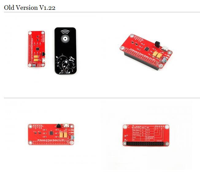 ИзмененияИК пульта дистанционного управления питанием Raspberry Pi в V1.22 и V2.02 :