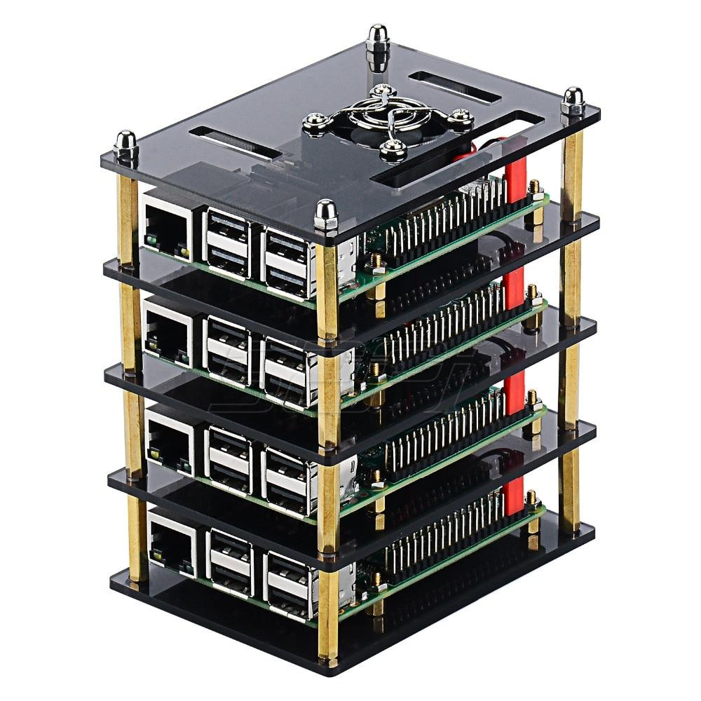 Прозрачный акриловый корпус с вентилятором охлаждения для четырех Raspberry Pi