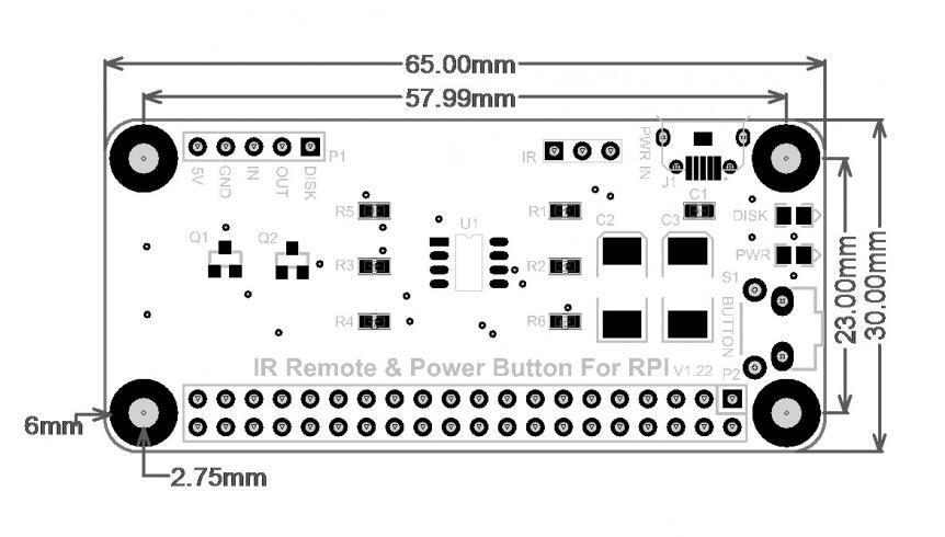 ИК пульт дистанционного управления питанием Raspberry Pi Версии V1.22 и V2.02 имеют одинаковые размеры