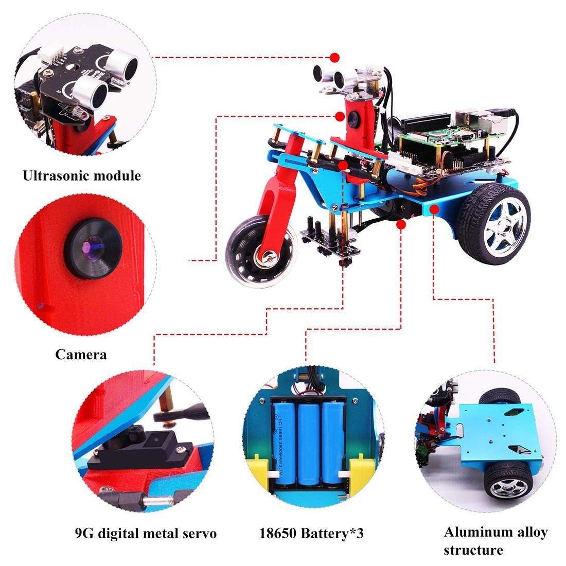 Характеристикитрехколесного умного робота с HD камерой на Raspberry 4B