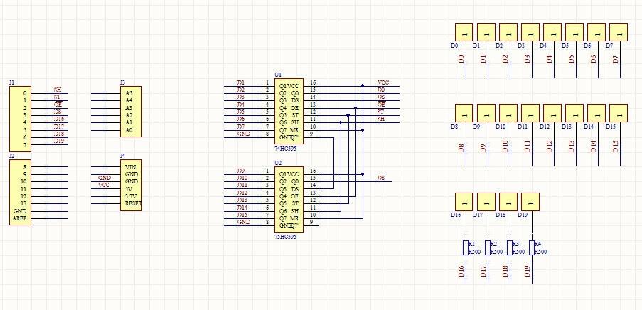 Схема комплекта для сборки светового куба 4x4x4 синий на ардуино