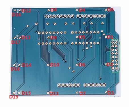 Расположение элементовкомплекта для сборки светового куба 4x4x4 синий на ардуино